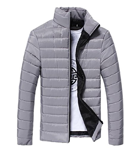 Thicken Solid Casual Collar Grey Zip Stand Anorak XINHEO Fit Jacket Mens A0tqwIcx5