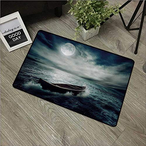 "Anzhutwelve Fishing,Decorative Floor Mat Boat Drifting in Ocean Full Moon Dramatic Night Sky Life Hope Concept Art W 24"" x L 35"" Front Door Rugs Dark Blue White"