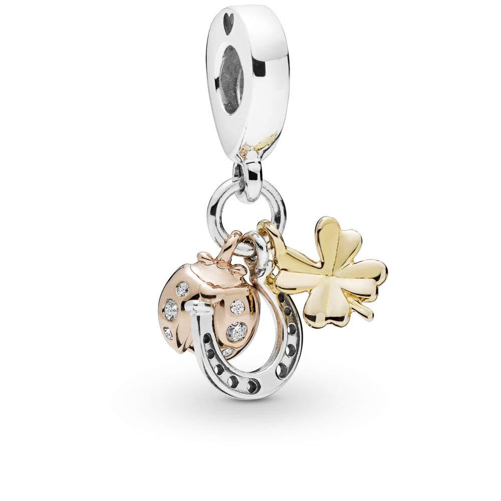 PANDORA Horseshoe, Clover and Ladybug 925 Sterling Silver Charm - 797852CZ
