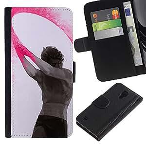 Paccase / Billetera de Cuero Caso del tirón Titular de la tarjeta Carcasa Funda para - Paint Indian Holiday Man Art - Samsung Galaxy S4 IV I9500