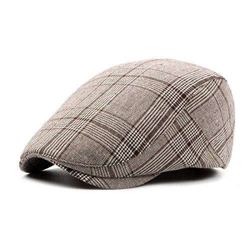 Plaid Ivy Newsboy Cap Fashion Irish Cabbie Caps Casual Beret Hat Gatsby Flat Cap - Light Brown (Solid Cap Pigment Dyed Twill)