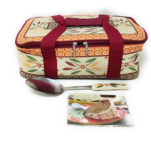 Temp-tations Insulated Tote Bag ONLY (NO DISH) for the 11 inchx7 inch 2.5 Quart Baker, w/Serving Spoon & Recipe Cards (Old World Fallfetti)