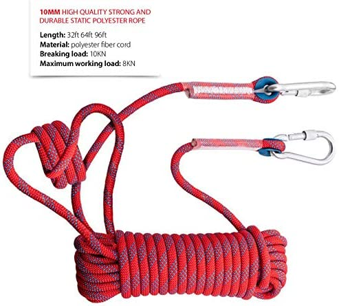 10mm Diameter Maximum Load 2697 lbs Outdoor Rock Climbing Escape for Safety Rope Nylon Rope 10m