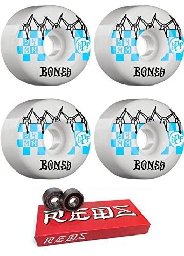 直立社員半ば54 mm Bones Wheels SPFタイルスケートボードWheels with Bones Bearings – 8 mmスケートボードベアリングBones Super Redsスケート定格 – 2アイテムのバンドル