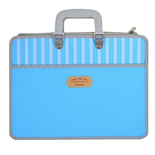 CLARA Zipper Plastic Handbag Briefcase Double Layer Office Business Document Bag(Blue)