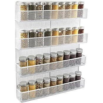 Amazon Com 4 Tier Spice Rack Cabinet Door And Wall