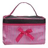 NOMENI Women's Fashion Square Bow Stripe Cosmetic Bag (Hot Pink)