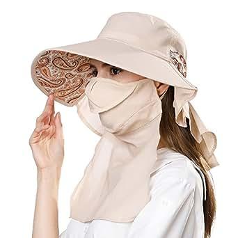 Siggi Ladies Cotton Packable Summer Sun Hat Wide Brim Neck Mask Flap Cord UV UPF 50+ for Women Beige