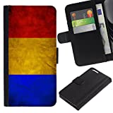 Graphic4You Vintage Romanian Flag of Romania Design Thin Wallet Card Holder Leather Case Cover for Apple iPhone 6 Plus / 6S Plus