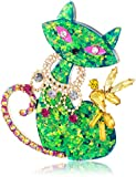 Betsey Johnson Womens Granny Chic Green Cat Brooches and Pin, Green, One Size