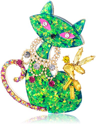 Betsey Johnson Womens Granny Chic Green Cat Brooches And Pin, Green, One Size by Betsey Johnson