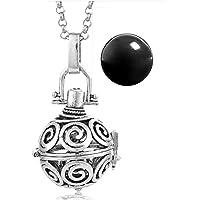 Set Joyeria Llamador de Angeles Espiral Flujo de la Vida VA011 Plata Antigua - Esfera Negra