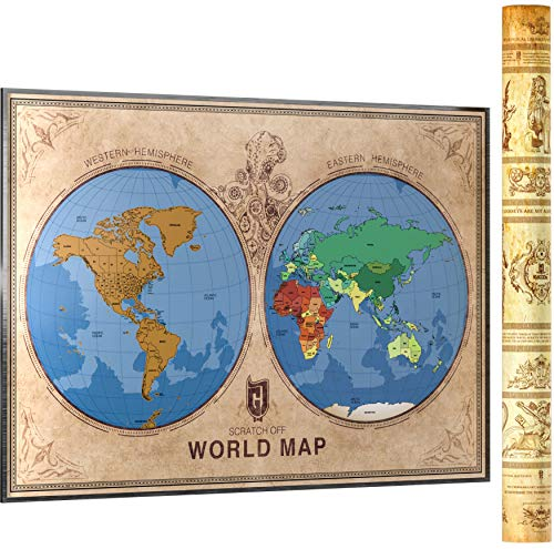 Scratch Off Map of The World with US States Outlined | 35 x 24 inches | Two Hemisphere Design - One of a Kind Travel Gift | Scratching Accessories Included | Scratch Map by Kadzin