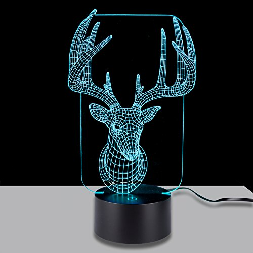 3D Illusion Lamp StarVast Adjustable 7 Colors Elk Acrylic 3D Light Creative Touch Switch Stereo Visual Tabletop Atmosphere LED Night Lights Lamp 85%OFF