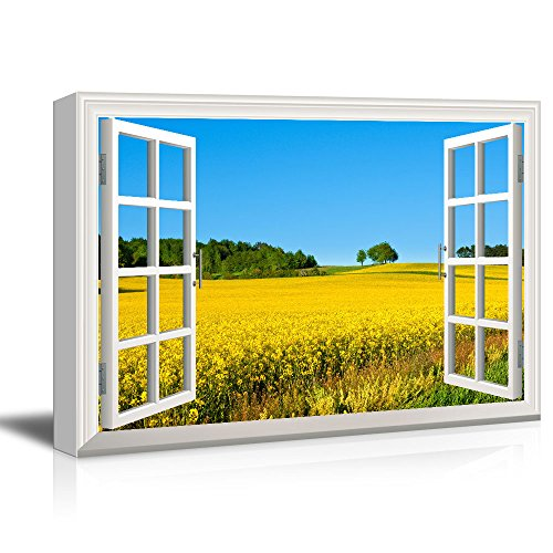 Window View Yellow Rape Flower Field in Spring