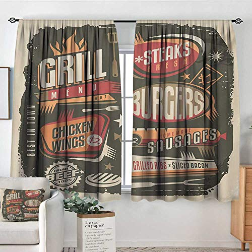 All of better BBQ Party Blackout Window Curtain Grill Menu Design with Steaks Burgers Wings Sausages Ribs and Bacon Retro Effect Waterproof Window Curtain 72