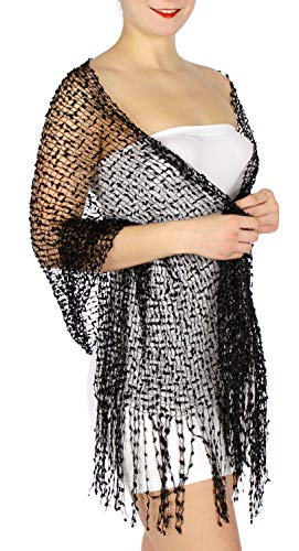 Evening Shawls And Wraps for Dresses, Lightweight Metallic Fishnet Scarf, Mini frills shawl, Black