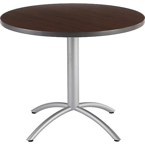 Iceberg ICE65624 CafeWorks Round Cafe Table with Powder-Coated Steel Base, 36 Diameter x 30 Height, Walnut