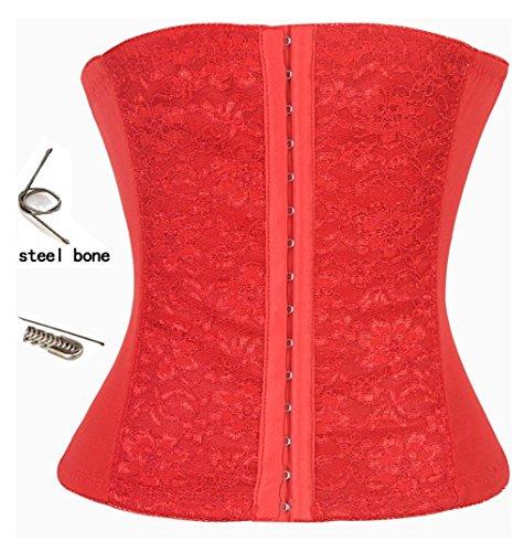 SiSi Women's Elasticity Steel Boned Lace (Medium, Red)