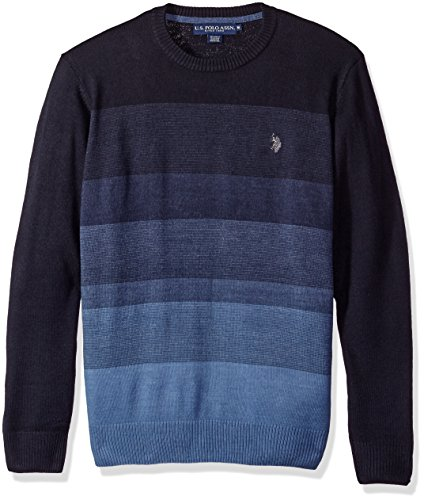 U.S. Polo Assn. Men's Color Block Striped Crew, Navy, (Navy Striped Polo)