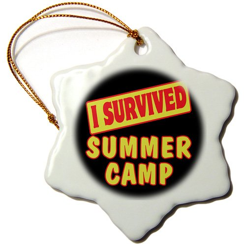 3dRose ORN_118270_1 I Survived Summer Camp Survial Pride and Humor Design Snowflake Ornament, Porcelain, 3-Inch