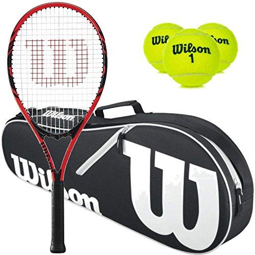 (Wilson Federer Pre-Strung Oversized/Extended Black/Red Tennis Racquet (4 3/8
