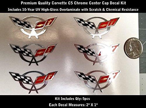 High Performance Vinyl Graphics LLC C5 Z06 Corvette Wheel Rim Chrome Center Cap Decal Kit 5pcs Laminated 2
