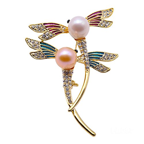 Beaded Dragonfly Pin (JYX Loverly Dragonfly-shape Freshwater Pearl Brooches Pins)
