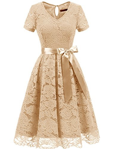 DRESSTELLS Women's Elegant Bridesmaid Dress Floral Lace Party Swing Dresses with Short Sleeves Champagne XL