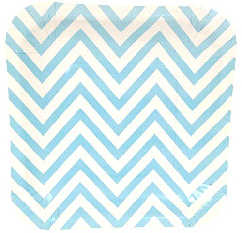 Just Artifacts Square Paper Party Plates 7.25in (12pcs) - Baby Blue Chevron - Decorative Tableware for Birthday Parties, Baby Showers, Grad Parties, Weddings, and Life Celebrations! -