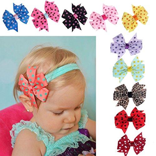 Dots Hair Bands - DZT1968® 10PCS Baby Girl Narrow Headband Head Wrap Hair Band With Dot Bowknot
