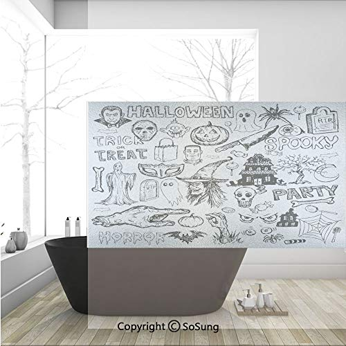 3D Decorative Privacy Window Films,Hand Drawn Halloween Doodle