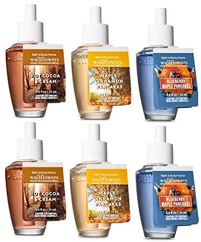 Bath and Body Works 6 Pack Autumn Flavors Scents Wallflowers Fragrance Refill. 0.8 fl oz. by Bath & Body Works