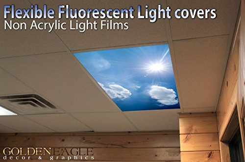 Sunny Day Sky - 2ft x 4ft Drop Ceiling Fluorescent Decorative Ceiling Light Cover Skylight Film - Sky Panel