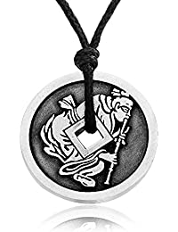 Opium Pipe Man Chinese Coin Pendant Necklace + Silver Plated Clasp, Fine Pewter Jewelry