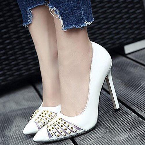 Easemax Womens Sexy Burnished Cut Out Rivets Pointed Toe High Stiletto Heel Pumps Shoes White Z1VeHO