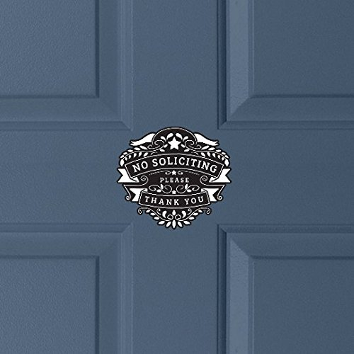 Shield Crest No Soliciting Sign | No Solicitation Sign, Front Door Sign, No Sales People, Please No Soliciting, Decal, Vinyl, Sticker Crest Stationery