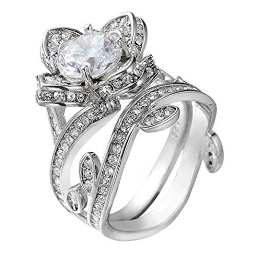 - Lotus Flower Style Ring Lotus Sterling Silver Unique Solitaire Engagement Ring-6-12# (Silver, 11#)