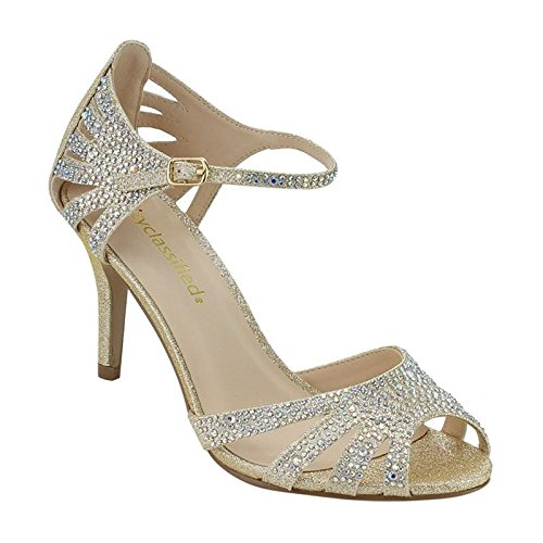 City Classified Womens Strappy Rhinestone Open Toe Low Heel Heeled-Sandals, Gold, 10