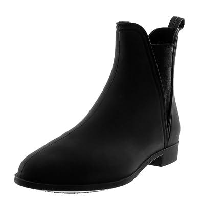 ca4008c0a8e Angkorly - Chaussure Mode Bottine Bottes de Pluie Slip-on Chelsea Boots  Femme élastique Talon