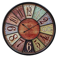 VIPSSCI 24 Wooden Wall Clock Multi Color Tuscan Numbers with Iron Frame Wall Decor