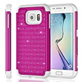 Fosmon Samsung Galaxy S6 Edge Case (HYBO-SD) Star Diamond Hybrid Dual Layer Silicone Case Shell Cover (Sturdy Form-Fitted) for Samsung Galaxy S6 Edge - Fosmon Retail Packaging (Pink/White)