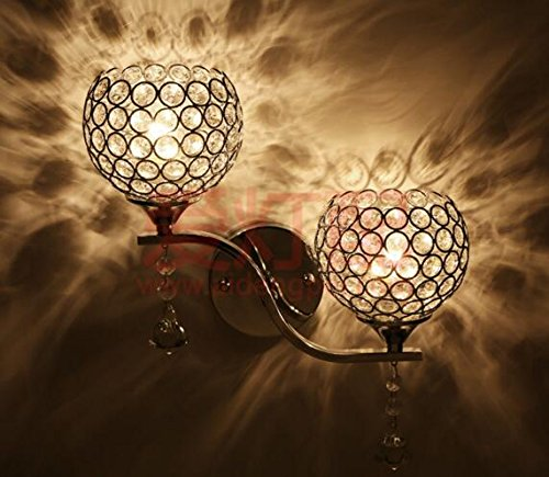 Best to Buy Modern Luxury Crystal Wall Light Chrome Finish Wall Sconce Lighting Fixture(E26 bulb not included) (2 heads) by BTB®