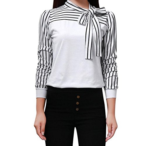 Orangeskycn Women Blouse Tie-Bow Neck Striped Splicing Shirt Business Formal Outwear Long Sleeve Pullover Tops (White, XL)