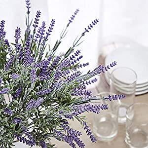 TEMCHY Artificial Lavender Plant with Silk Flowers Bouquet for Wedding Decor and Table Centerpieces, Indoor Outdoor Decoration - 8 Piece Bundle 5