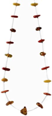 Sweet Heart Pendant on Beaded Chain Necklace with Amber and White Beads