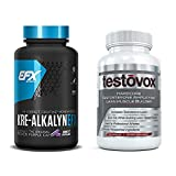 Kre-Alkalyn (240 Capsules) & Testovox (60 Capsules) - High Performance Muscle Building Combo. Professional Strength Bodybuilding Supplement Stack by EFX Kre-Alkalyn
