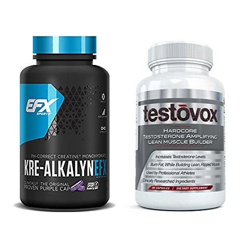 Workout Stack - Kre-Alkalyn (240 Capsules) & Testovox (60 Capsules) - High Performance Muscle Building Combo. Professional Strength Bodybuilding Supplement Stack by EFX Kre-Alkalyn