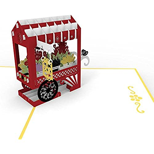 LovePop Cards 3D Pop Up Greeting - French Flower Cart Sales