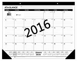AT-A-GLANCE Monthly Desk Pad Calendar 2016, Ruled, 21-3/4 x 17\